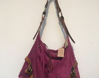Lucky Brand Purple Suede & Leather Shoulder Hobo Bag NWT