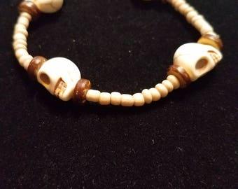 Beaded Tan Skull Stretch Bracelet