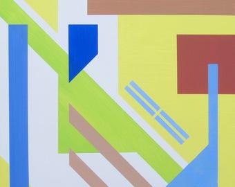 Original Abstract Modern Geometric Acrylic Painting