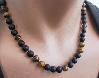 mens beaded necklace tigers eye necklace black onyx necklace matte onyx beaded necklace mens necklace gemstone necklace surfer necklace men