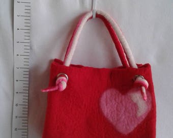 Hand felted heart/love purse