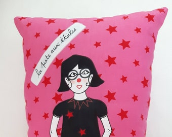 """Cushion: """"track star"""" pink/red"""