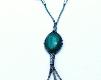 Handmade & Handwoven Necklace with Charming Emerald Stone - Pure Silver