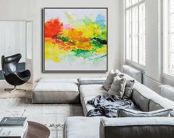 Original contemporary art canvas painting, large square abstract painting, hand painted. FREE shipping. By Ethan Hill Art No.H1S