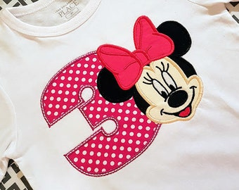 Minnie Mouse 3rd Birthday Applique Shirt