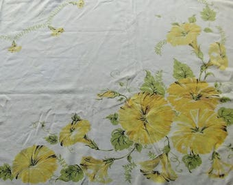 Vintage Printed tablecloth yellow morning glory