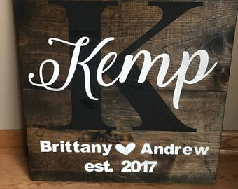 Custom Initial and Last Name Wood Sign with Est. Date