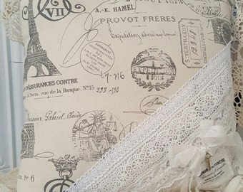 French Print Pillow with Lace