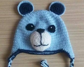 Crochet hat, Crochet baby hat, Teddy bear hat,  Earflap hat