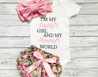 Baby Girl Coming Home Outfit, Baby Girl Clothes, Newborn Girl Coming Home Outfit, Daddys Girl Mommys World, Newborn Girl Outfit
