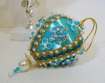 Vintage LeeWards Christmas Ornament Handmade Turquoise Rhinestones Beads from Kit with Velvet and Gold Cording Lee Wards Boutique