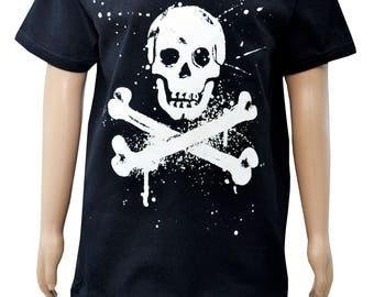 "Boys ""punk' Pirate Black T.shirt"