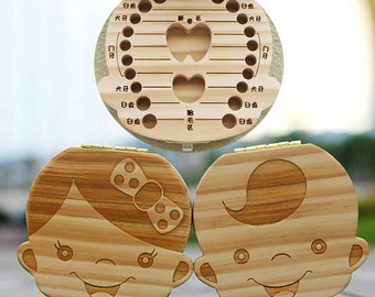 Wooden Lovely Baby Teeth Lanugo Hair Save Box Tooth Organizer Childs Girl Boy