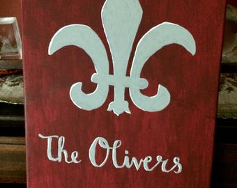 Custom Fleur de Lis Painting with Family Name