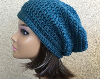 Teal slouchy hat,  slouchy Beanie ,  Trendy Beanie, Boho wear,  Women's crochet hat,  teen or  adult, ladies stylish hat,  Ready To Ship