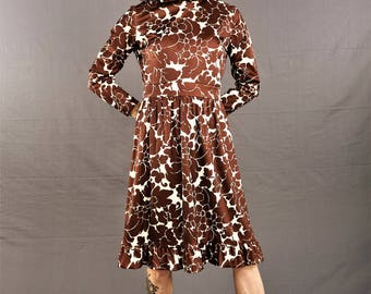 60s Polyester Dress, by Emilio Borghese / 1960's MOD Style RUFFLE Dress, size 3/4 small