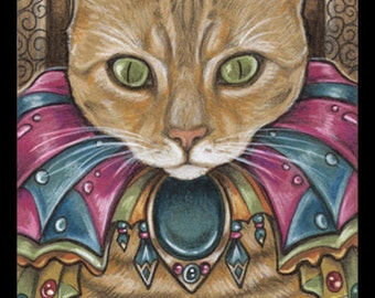 Orange Cat Print Ginger Cat Print Cat Art Illustration Fantasy Art Print Kids Room Print Nursery Print Cat Lover Gift for Cat Owner Prints