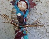 Athena Moon Goddess, Kitchen Witch, Besom, Spirit Protector, Shabby Chic Decor,ooak art doll, owl totem,Mother's Day Gift,  Nurturing Spirit