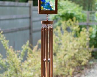 Sea Glass Copper Cedar Wind Chime, Kaleidoscope Windchimes