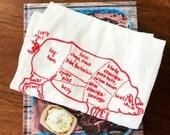 Butcher pig diagram tea towel - white cotton floursack kitchen towel