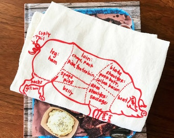 Butcher pig diagram tea towel - white cotton floursack kitchen towel