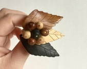 Wooden Leaves Brooch - Carved Wood Leaf Berry Cluster - Tri-Color Neutral Earthtones of Brown, Tan, Black - Vintage 40s Style Nature Jewelry