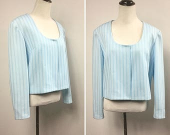 Blue Striped Jacket - Cropped Bolero in Sky Blue and White Vertical Stripes - Scoop Neck, Open Front - Handmade Vintage 60s Spring Jacket