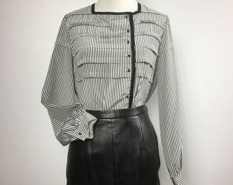 Black and White Striped Blouse, Pleated Top, Square Neck, Long Sleeve, Round Buttons, Asymmetrical Black Trim, Vertical Stripes, Vintage 80s