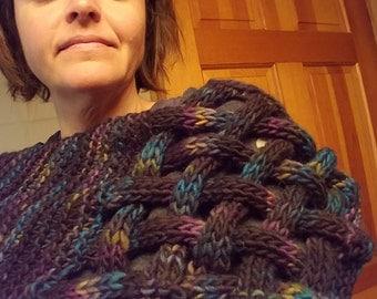 Criss-Cross Knit Scarf - Unique, Wear as Cross-Body Cowl or Hood