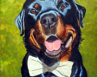 Rottweiler Custom Portrait Oil Painting - Pet Portrait Artist, Art He'll Love for Office or Home Decor Gift Certificate