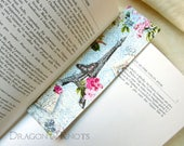 Eiffel Tower Bookmark - Paris France sewn fabric book accessory, cottage chic pink flowers butterflies, romantic handmade gift under 10