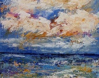Ocean, Clouds, Landscape, Sea, Tide, Beach, Original Painting, Landscape Painting, Home Decor, Office Art, Gift, Winjimir, Art, Beach Decor