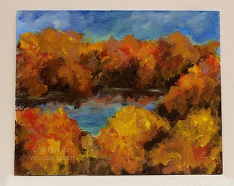 Trees Around Lake, Fall, Autumn, Yellow and Orange, Original Painting, Landscape Painting, Home Decor, Office Art, Gift, Winjimir,  Wall Art