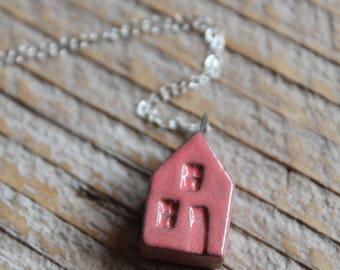 Ceramic Tiny House Necklace with Pink Glaze on Sterling Silver Chain