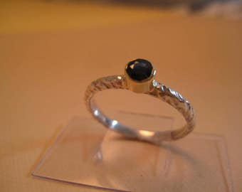 Sapphire ring 18kt and sterling stackable ring