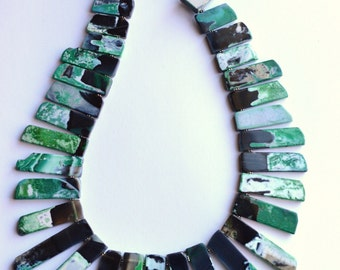 Times Square - Green Black Agate Statement Necklace