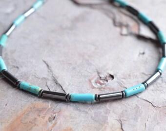 The Wyatt- Turquoise Magnesite and Hematite Men's Necklace