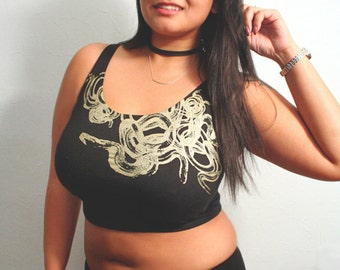 sexy tank top, snakes crop top, black crop tank, golden snakes, womens black crop top XS/S - M/L