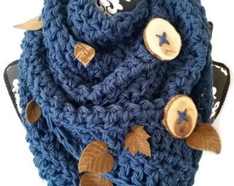 Scarf with Buttons, Bohemian Scarf, Leaf Scarf, Hipster Scarf, Blue Scarf, Blue Chunky Scarf, Unique Scarf, Gift for Her