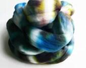 obelisk / hand dyed merino wool roving / knitting felting spinning fiber / extra fine top / 3 ounces / blue green brown white