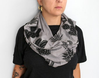 Gray Double Print Infinity Slub Knit Jersey Scarf with Cactus and Succulents Screenprint