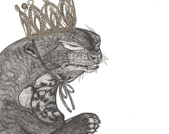 crying giant otter wearing a glittering gold crown ORIGINAL artwork ink drawing on paper 8 x 8