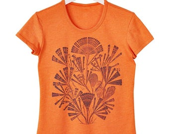 Sea Botanical Print Vibrant Orange T-Shirt
