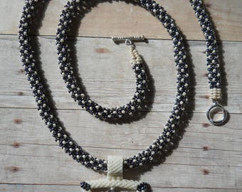 Necklace: Gunmetal & Cream Beaded Rope With Triangle Pendant, Swarovski Crystals