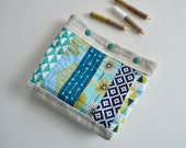 Patchwork Snap Pouch - Blue quilted Pouch - Make up Bag - Cosmetic Pouch - Colorful Snap Pouch - Quilted Modern Pouch - Gift for Teen Girls