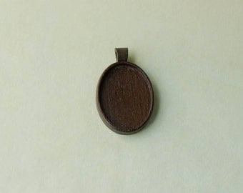 Finished artisan hardwood pendant blank - Walnut - Wooden Bail - 30 x 40 mm - (A2-W)