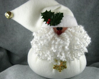 SANTA CHRISTMAS DECORATION, Christmas Holiday Decor,  Handmade Stuffed Santa,  Little Bit in Cream Fleece