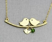 Family Bird Necklace and Small Birthstone, Personalized Initial Baby Bird Charm Necklace, New Mom Gift, Silver Rose Gold Mothers Jewelry