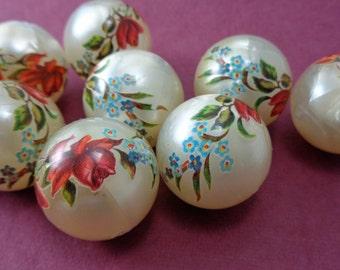 Vintage Plastic 22mm Rose Adorned Ivory Pearlescent Large Beads - Lot of 15