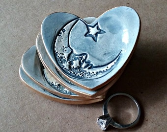FOUR Ceramic Heart Ring Dishes itty bitty edged in gold Moon and star
